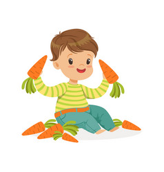 cute little boy sitting and playing with carrots vector image vector image