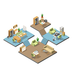 Different isometric modern offices with furniture vector