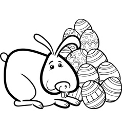 easter bunny cartoon coloring page vector image vector image