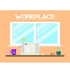 Flat style workspace icons design workplace and vector