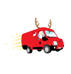 Funny santa claus driving a red van and vector