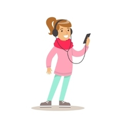 Girl with headphones and smartphone child and vector