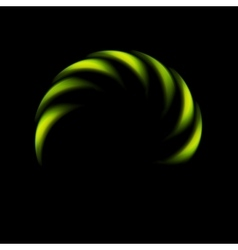 Glowing green abstract logo on black background vector image vector image