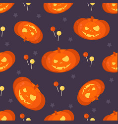 halloween pumpkin head seamless pattern vector image
