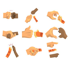 Hand of a man holding animals paw set animal and vector