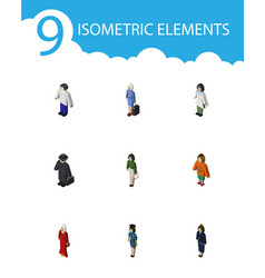Isometric human set of doctor businesswoman vector