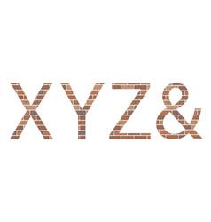 letters xyz in bricks vector image vector image