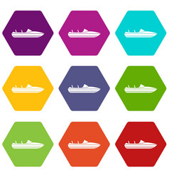 Little powerboat icon set color hexahedron vector