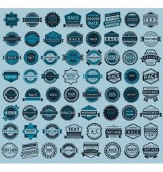 Racing badges - big blue set vintage style vector image