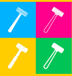 Safety razor sign four styles of icon on four vector