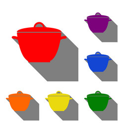 saucepan simple sign set of red orange yellow vector image