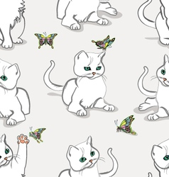 Seamless pattern with kitten vector image