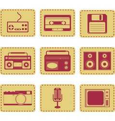 set of retro gadgets monochrome vector image