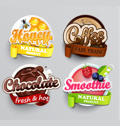 set of stickers for drinks vector image vector image