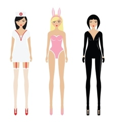 Sexy women in erotic role play costumes vector image