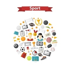 sports icons in circle vector image vector image