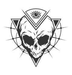The skull is an alien and all-seeing eye vector image