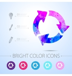 Three arrows icon with infographic vector