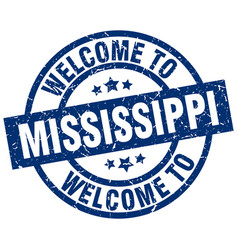 Welcome to mississippi blue stamp vector