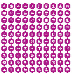 100 clouds icons hexagon violet vector