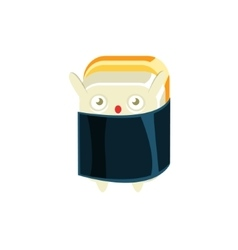 Baby funny maki sushi character wrapped in sea vector