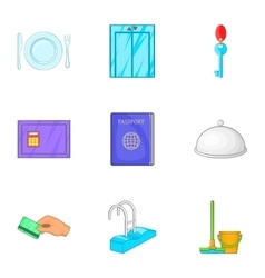 Hotel accommodation icons set cartoon style vector