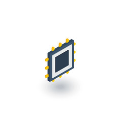 Processor motherboard chip isometric flat icon vector