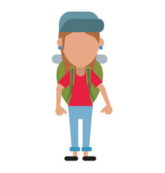 Young girl traveler with backpack vector