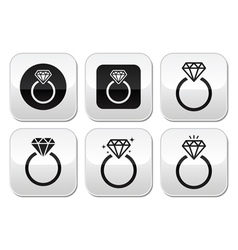 Diamond engagement ring buttons set vector image
