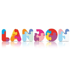 LANDON written with alphabet puzzle vector image