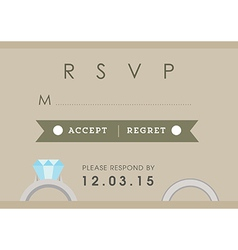 Rsvp wedding card ring theme vector