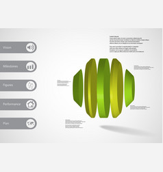 3d infographic template with round octagon vector