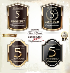 5 years anniversary labels vector