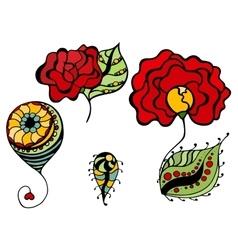 simple floral drawings vector image