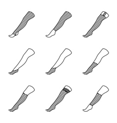 Set of STOCKINGS icons with different types vector image