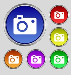 Camera icon sign round symbol on bright colourful vector