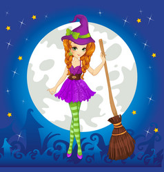 Witch standing on halloween sky vector