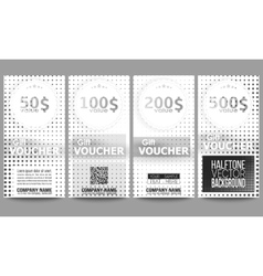 Set of modern gift voucher templates halftone vector