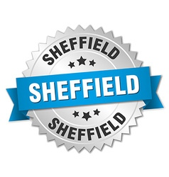 Sheffield round silver badge with blue ribbon vector