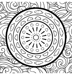 Clouds and mandala seamless pattern vector