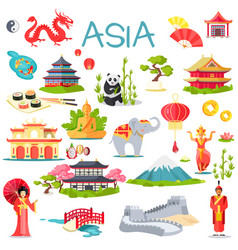 Asia collection of symbolic elements on white vector