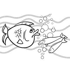 Big fish cartoon for coloring book vector