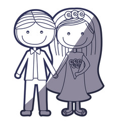 Blue color contour caricature couple in wedding vector