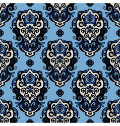 Blue damask seamless pattern vector
