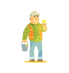 Builder With Paintbrush And Bucket On Construction vector image vector image