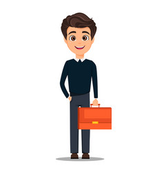 Business man cartoon character young handsome vector