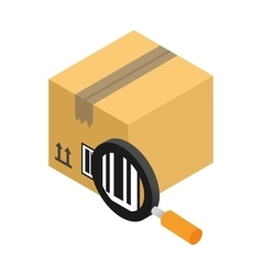 Carton with bar code and magnifying glass vector