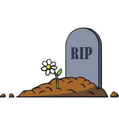 Cartoon grave with tombstone and flower vector image
