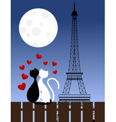 cats and eiffel tower vector image