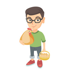 Caucasian boy holding a chicken and hen eggs vector